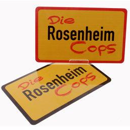 Die Rosenheim Cops Frühstücksbrettchen rot und schwarz